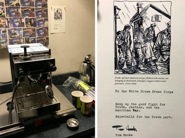 Том Хэнкс подарил кофемашину репортерам Белого дома
