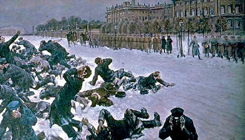В Кровавое воскресенье на улицах Петербурга погибли от 130 до 200 рабочих и почти 800 были ранены. Трупы тайно ночью захоронили, и царь вошёл как Николай Кровавый (фрагмент картины
