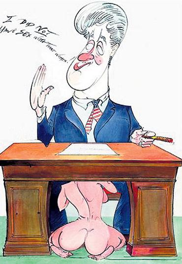 Враньё Билла КЛИНТОНА о том, что он не имел секса с Моникой ЛЕВИНСКИ, стало поводом для злых карикатур