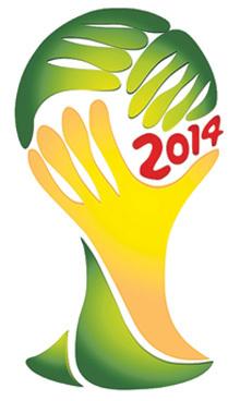На логотипе ЧМ изображены две руки зелёного и жёлтых цветов (цвета Бразилии), которые сливаются и образуют очертания Кубка мира