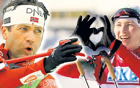 После одной из гонок ДОМРАЧЕВА изобразила свои чувства к БЬОРНДАЛЕНУ в виде сердечка. Фото: Twitter.com/goalsby