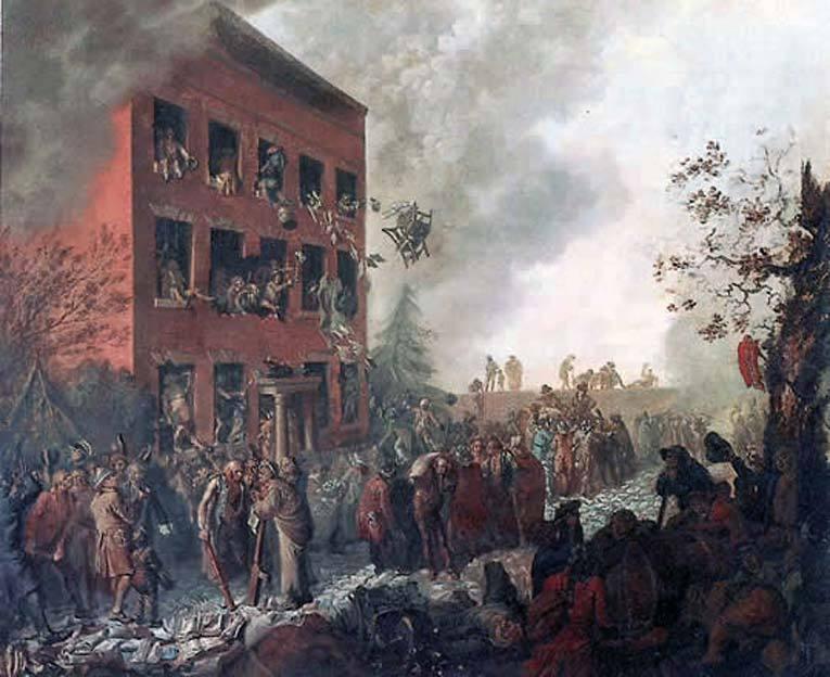 Англичане предъявляют претензии пожилому якобинцу. Нападение на дом Пристли в Бирмингеме 14 июля 1791 года. Фото: Википедия