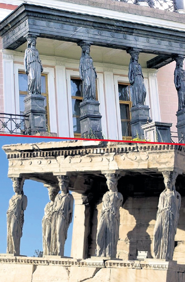 Сверху Петергоф, снизу Древние Афины. Статуи явно отливались в одних и тех же формах