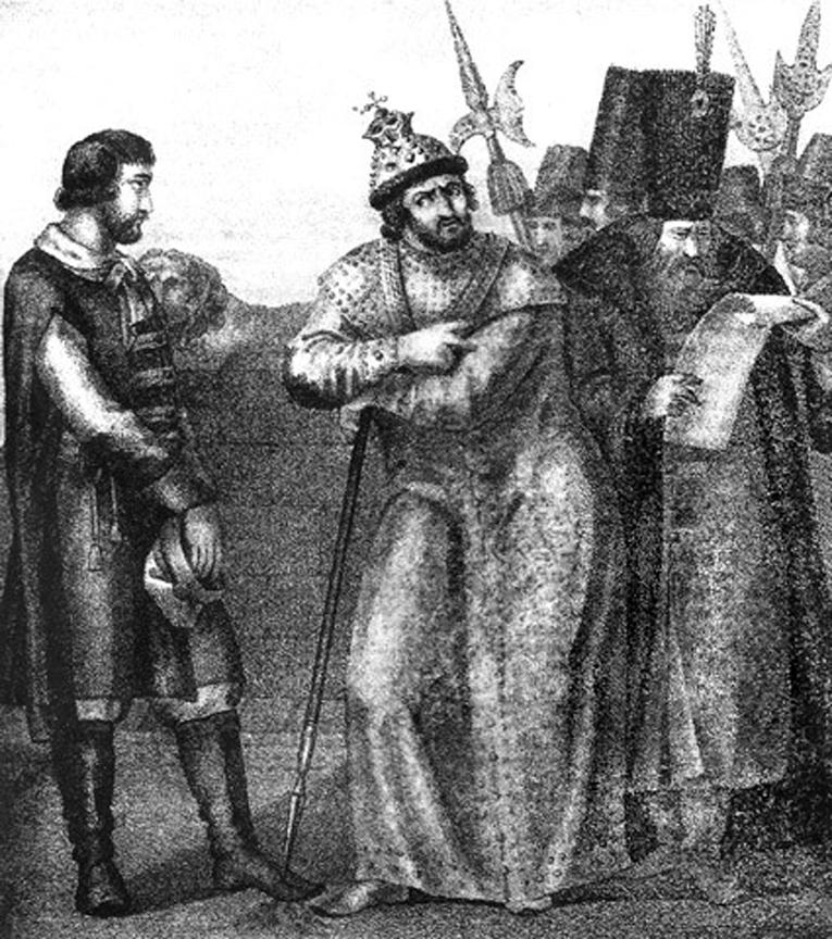 Иван Грозный выслушивает письмо от Андрея Курбского. Иллюстрация Бориса Чорикова, 1836 год