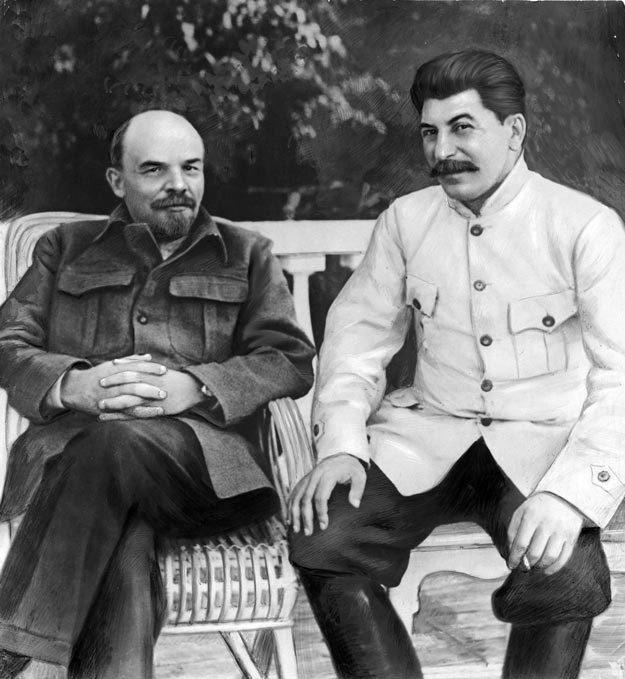 Сталин и Ленин в Горках в сентябре 1922 г. Фото: Википедия