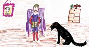 ВИКА ЛЬВОВА (9 лет): отдыхает дома, читает книжку собачке Кони