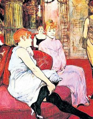 Анри ТУЛУЗ-ЛОТРЕК устроил студию в парижском борделе (картина «В салоне на улице Мулен», 1894-1895 гг.)