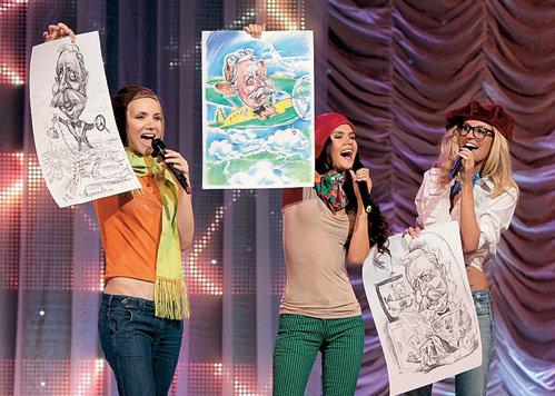 Группа «Фабрика» преподнесла в качестве подарка песню и весёлые шаржи