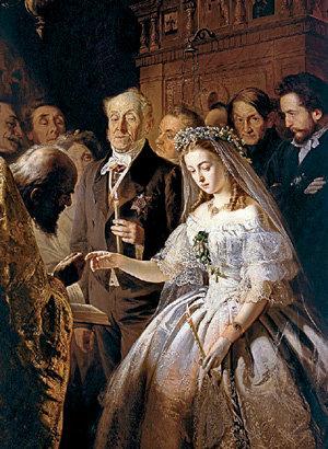 Раньше союз богатого старика и юной девушки выглядел в глазах обывателя чем-то неприличным. В XXI веке это стало нормой (картина Василия ПУКИРЕВА «Неравный брак», 1862 г.)