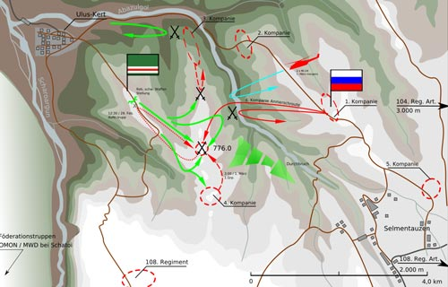 Оперативная обстановка накануне столкновения на высоте 776. Источник: wikipedia.org