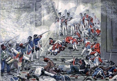 Повстанцы в синих мундирах Национальной гвардии оттесняют швейцарцев с главной лестницы. Королевская семья ждет наверху – Людовик уже отдал приказ о капитуляции. Художник: Анри-Поль Мотт
