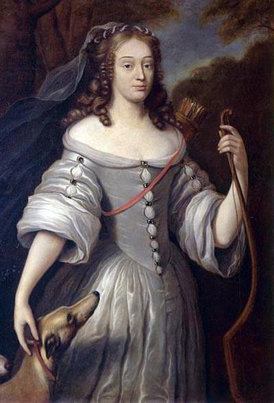 Клод Лефебр. Портрет Луизы-Франсуазы де Лабом Леблан, герцогини де Лавальер, в образе Дианы