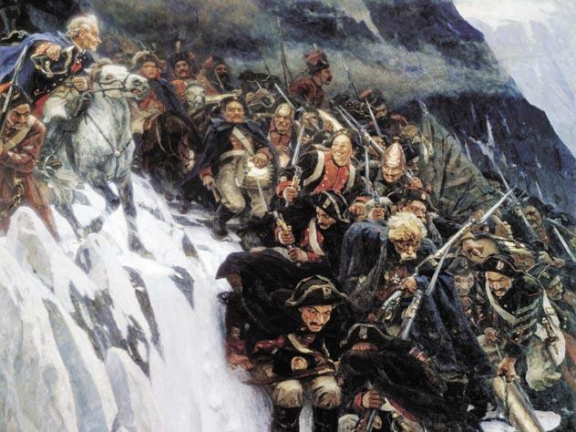 Картина В. И. Сурикова «Переход Суворова через Альпы», 1899 год