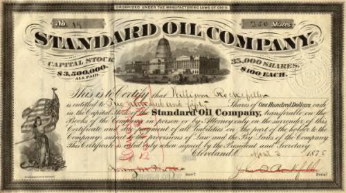 Купон Standard Oil — компании, на которой Рокфеллер сделал свое состояние. Источник: wikimedia.org