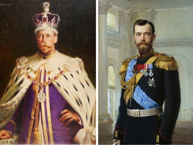Слева: Портрет Георга V. Автор – Исаак Сноумен. Справа: Портрет Николая II. Автор – Эрнст Липгарт