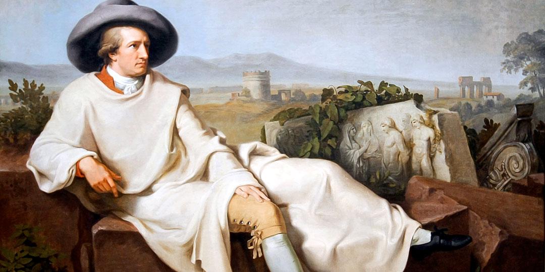 Иоганн Тишбейн, «Гете в Кампанье» (1787). Штеделевский художественный институт, Франкфурт-на-Майне. Портрет написал друг поэта во время его итальянского путешествия