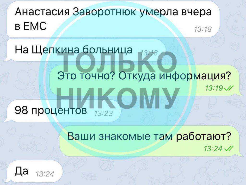 СМИ сообщают о смерти Анастасии Заворотнюк