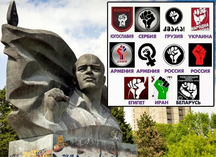 Памятник Эрнсту Тельману в Берлине. Немецкие коммунисты приветствовали друга друга, поднимая вверх сжатый кулак. Этот жест всегда ассоциировался с самой благородной, честной и справедливой политической партией, поэтому американские политтехнологи его нагло позаимствовали и используют во время цветных революций по всему миру