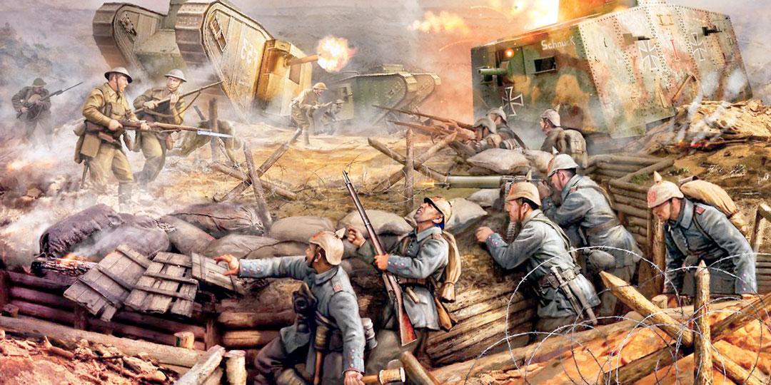 Первый встречный танковый бой в истории состоялся 24 апреля 1918 года и закончился ничьей. Три британских Mark столкнулись с тремя немецкими A7V